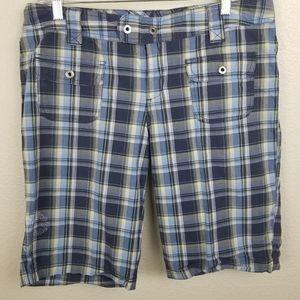 Columbia Blue Plaid Bermuda Shorts Size 10